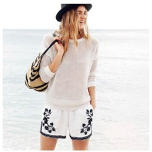 J. Crew Factory White Floral Embroidered Shorts 2